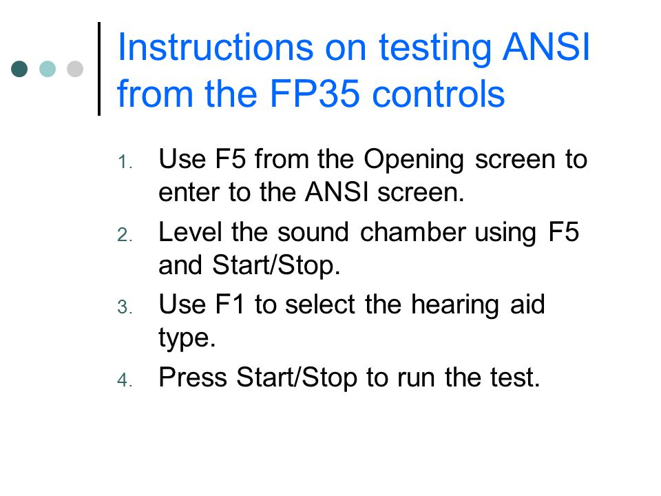 Instructions on testing ANSI from the FP35 controls