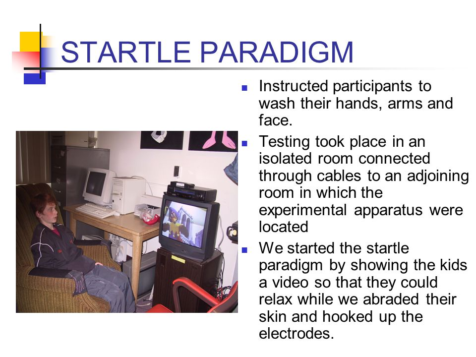 STARTLE PARADIGM Instructed participants to wash their hands, arms and face.