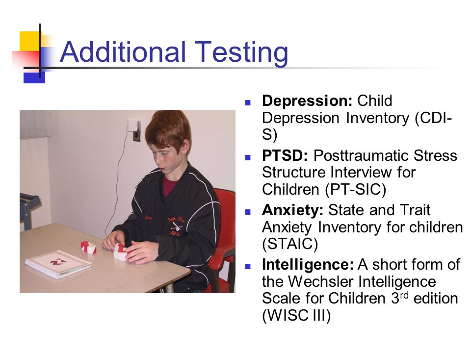 Additional Testing Depression: Child Depression Inventory (CDI-S)