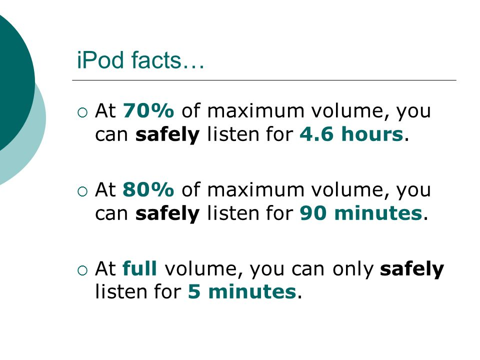 iPod facts… At 70% of maximum volume, you can safely listen for 4.6 hours. At 80% of maximum volume, you can safely listen for 90 minutes.