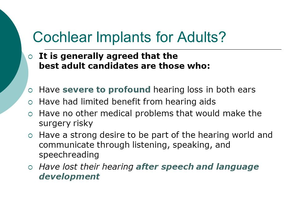 Cochlear Implants for Adults