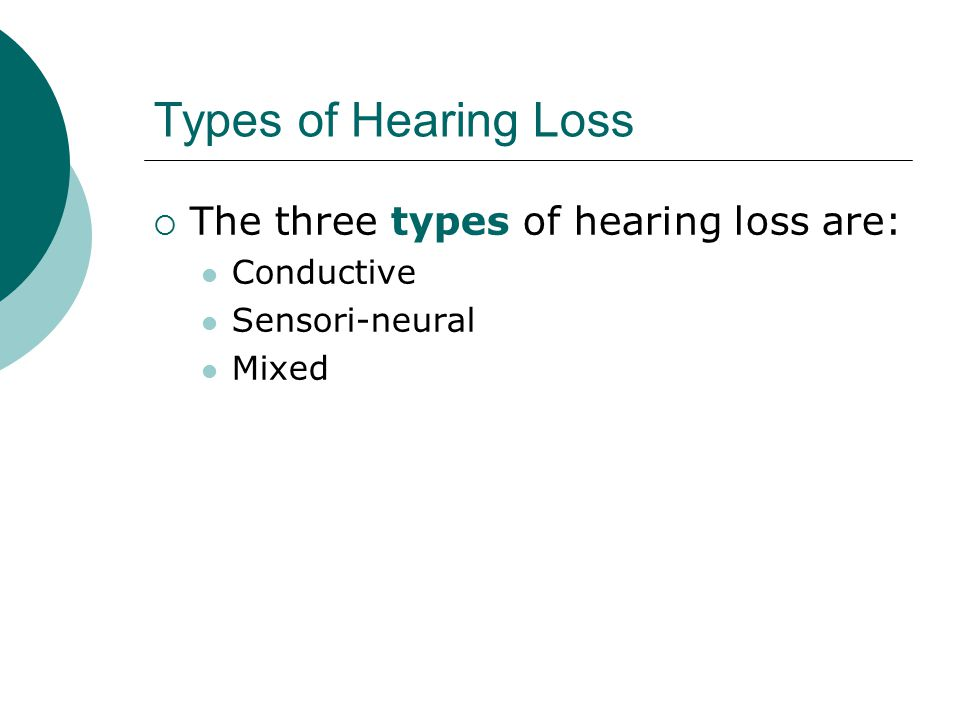 Types of Hearing Loss The three types of hearing loss are: Conductive