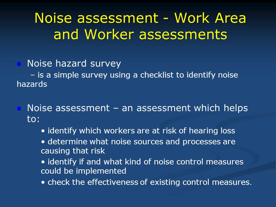 Noise assessment - Work Area and Worker assessments