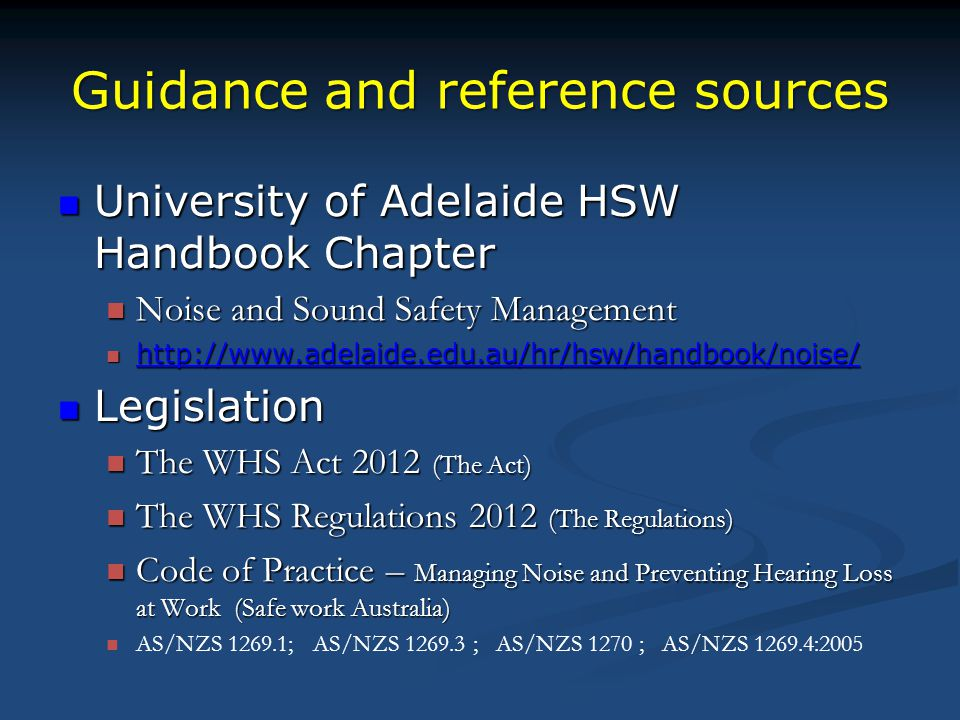 Guidance and reference sources