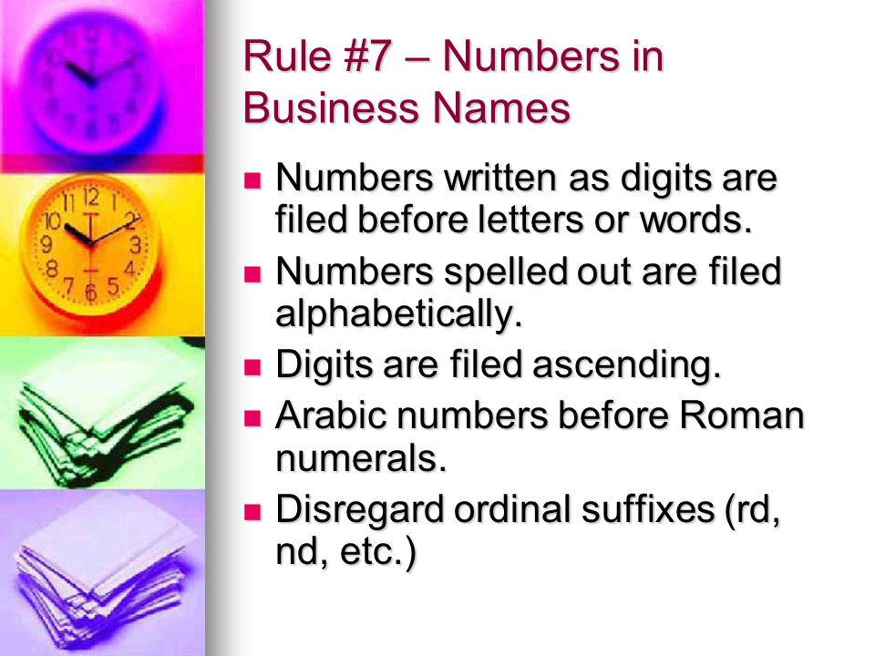 Rule #7 – Numbers in Business Names