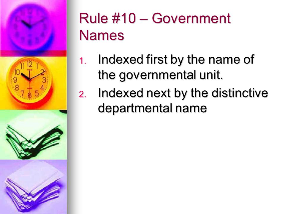 Rule #10 – Government Names