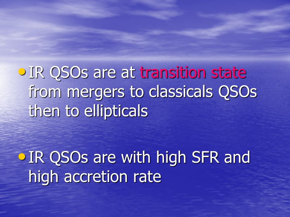 IR QSOs are at transition state from mergers to classicals QSOs then to ellipticals