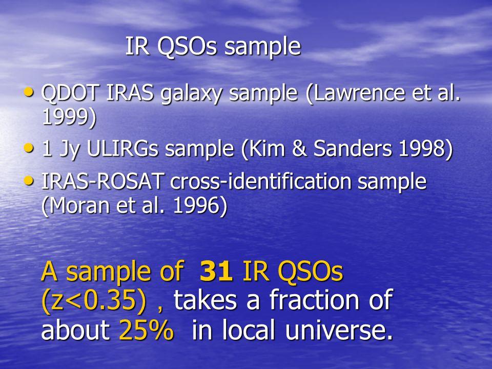 IR QSOs sample QDOT IRAS galaxy sample (Lawrence et al. 1999) 1 Jy ULIRGs sample (Kim & Sanders 1998)
