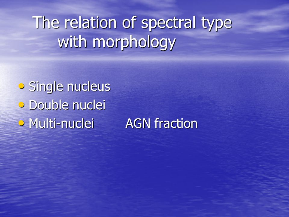 The relation of spectral type with morphology