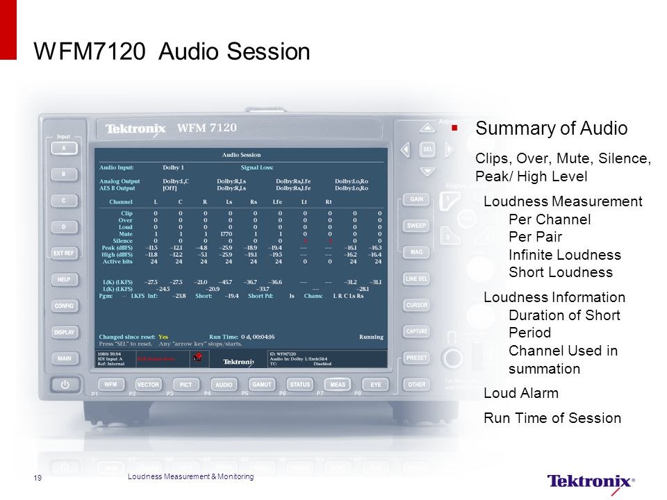 WFM7120 Audio Session Summary of Audio