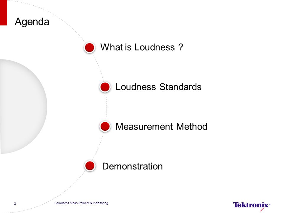 Agenda What is Loudness Loudness Standards Measurement Method