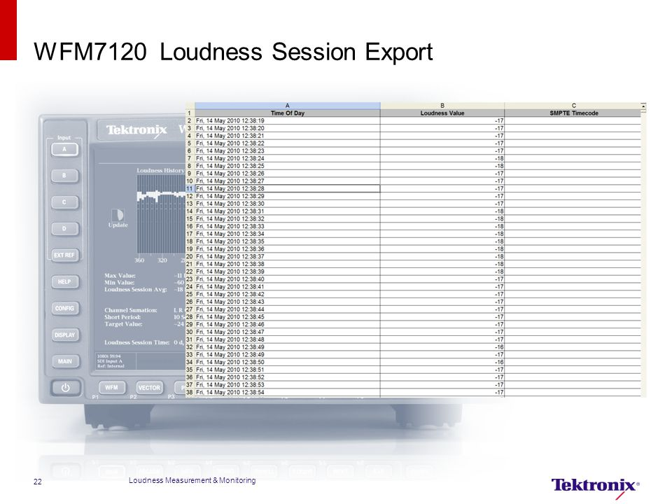 WFM7120 Loudness Session Export