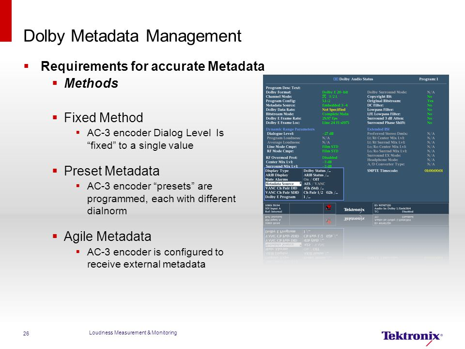 Dolby Metadata Management