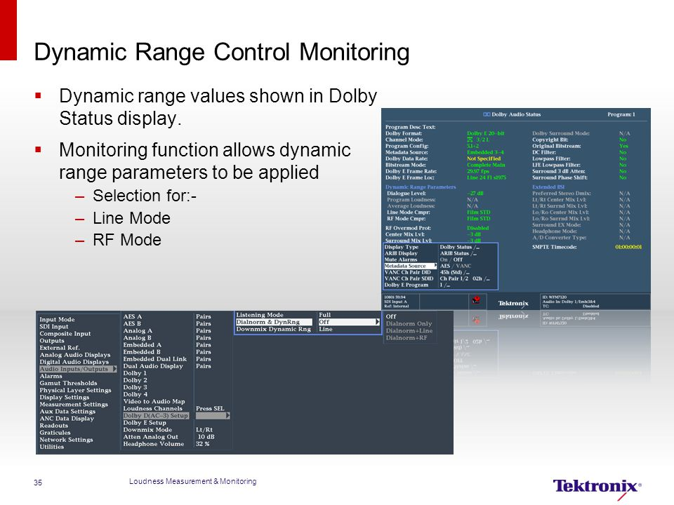 Dynamic Range Control Monitoring