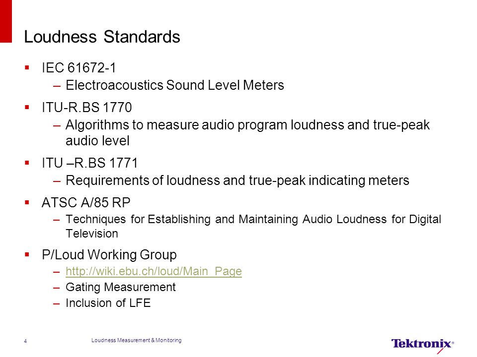 Loudness Standards IEC 61672-1 Electroacoustics Sound Level Meters
