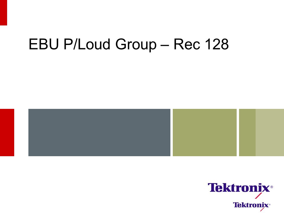 EBU P/Loud Group – Rec 128 9