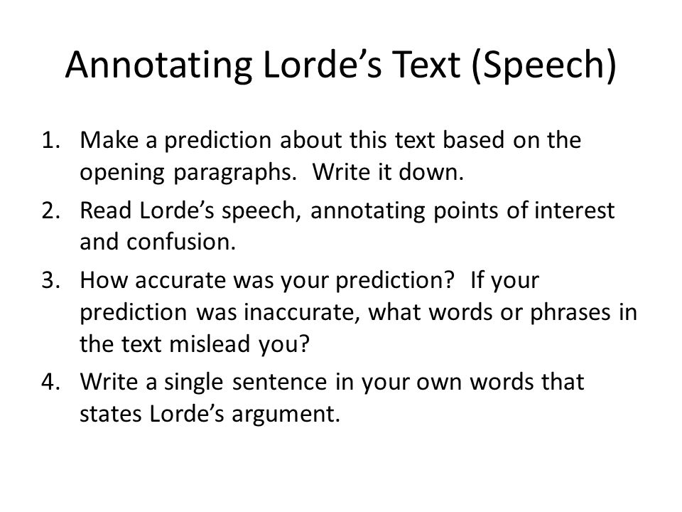 Annotating Lorde's Text (Speech)