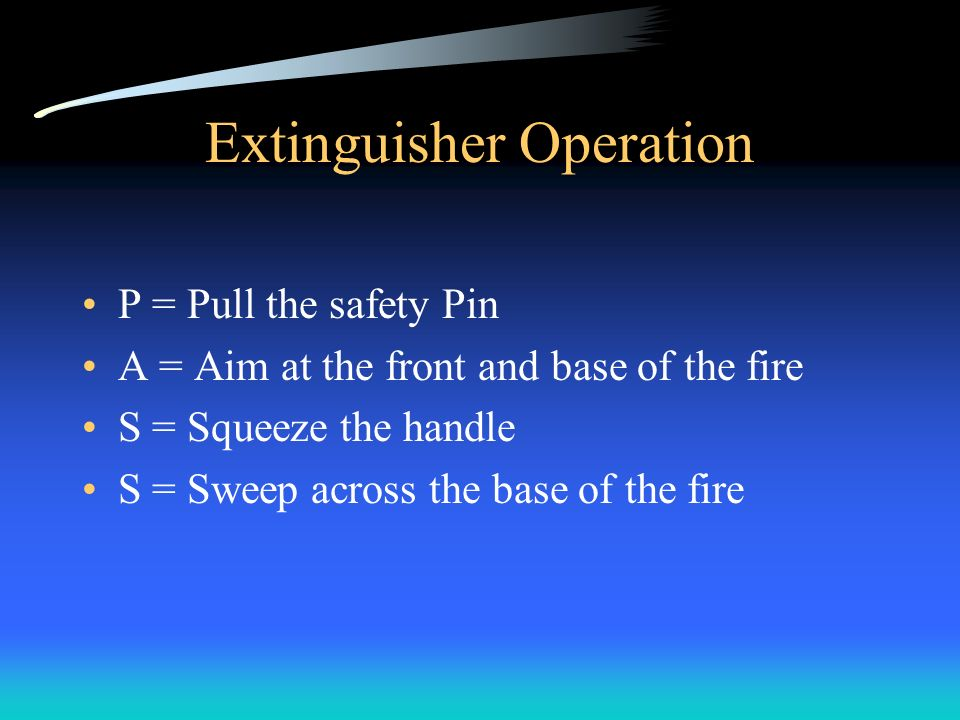 Extinguisher Operation