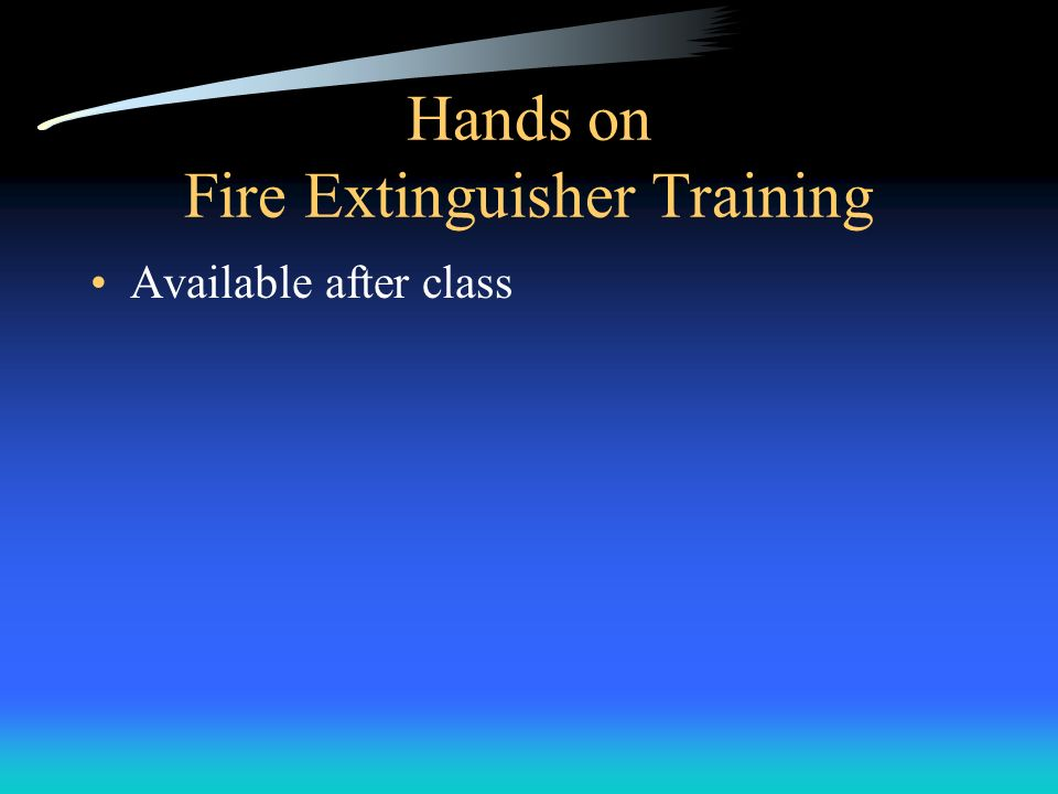 Hands on Fire Extinguisher Training