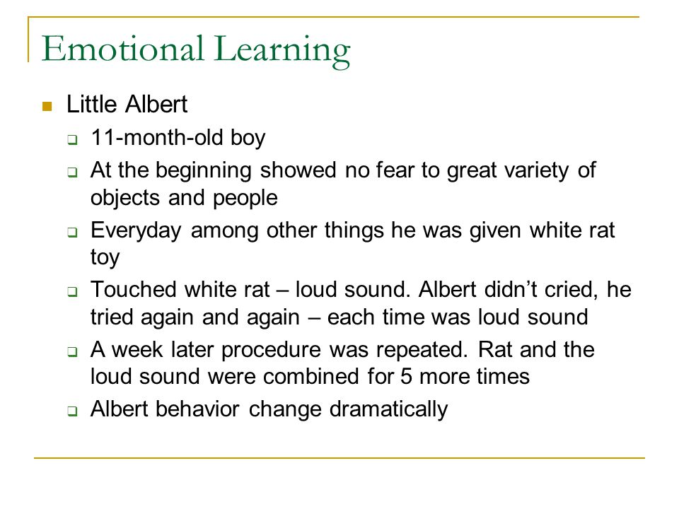 Emotional Learning Little Albert 11-month-old boy