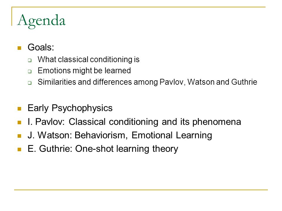 Agenda Goals: Early Psychophysics
