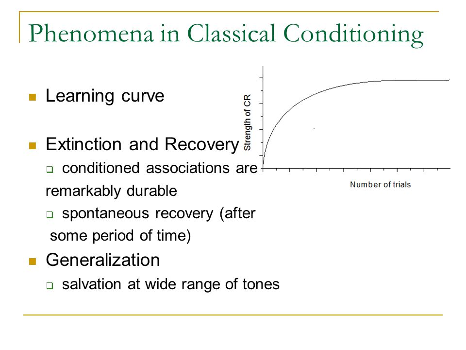 Phenomena in Classical Conditioning