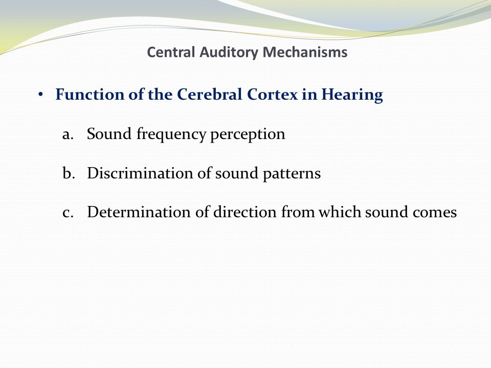 Central Auditory Mechanisms