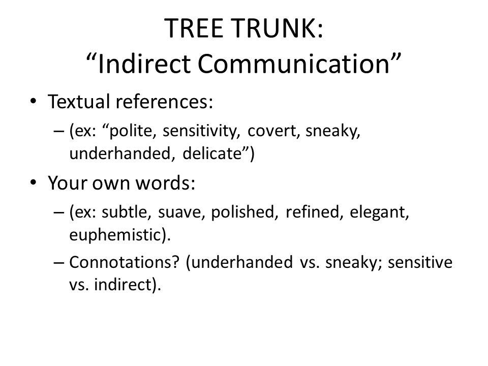 TREE TRUNK: Indirect Communication