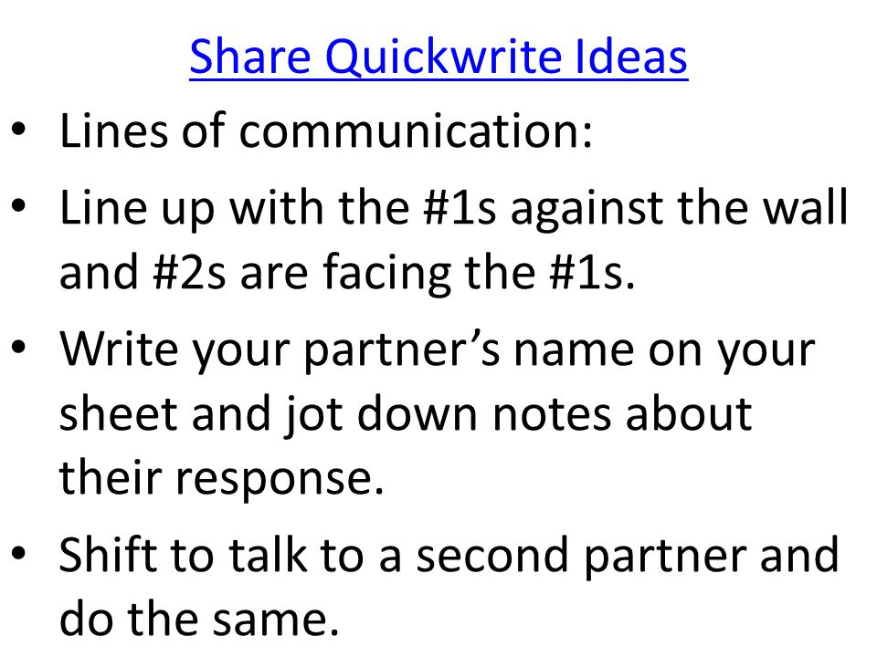 Share Quickwrite Ideas