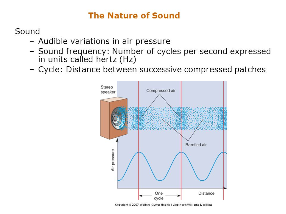The Nature of Sound Sound. Audible variations in air pressure. Sound frequency: Number of cycles per second expressed in units called hertz (Hz)