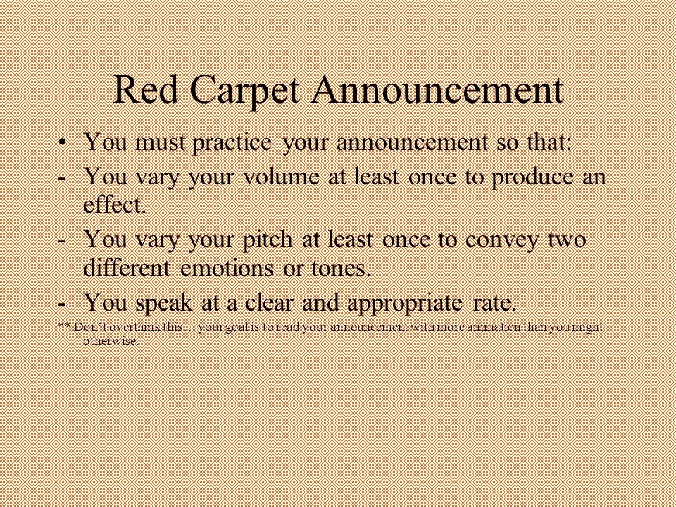 Red Carpet Announcement
