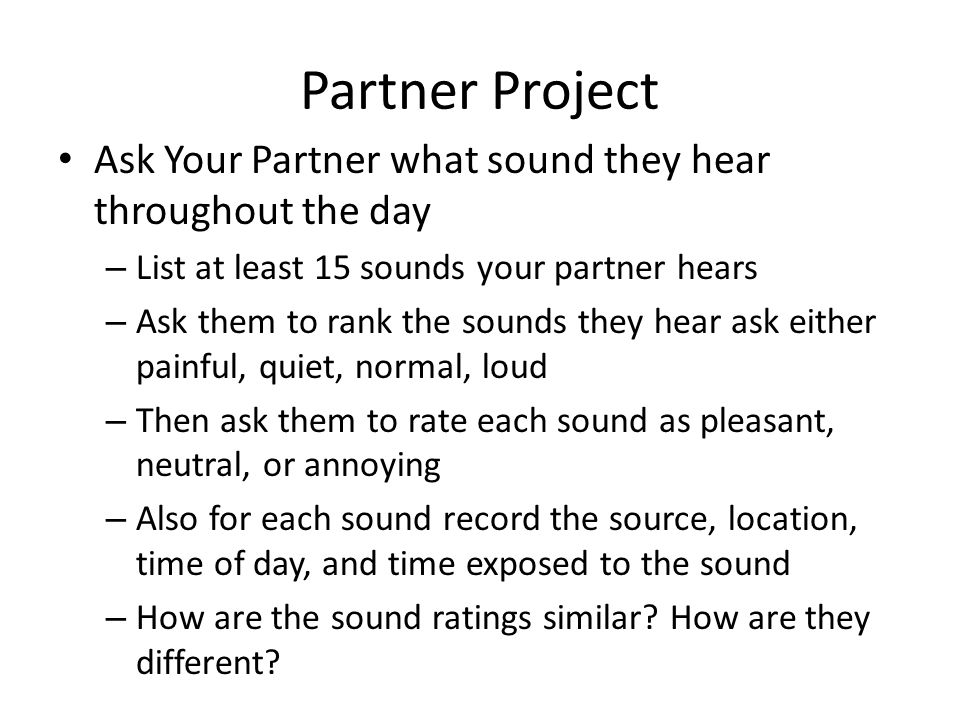 Partner Project Ask Your Partner what sound they hear throughout the day. List at least 15 sounds your partner hears.