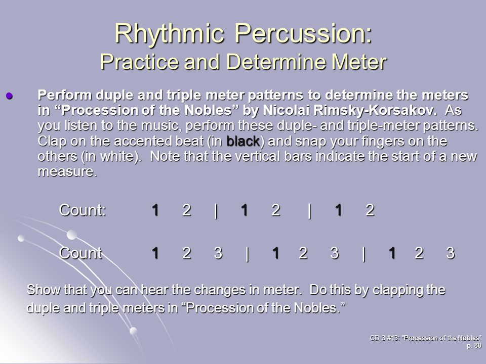 Rhythmic Percussion: Practice and Determine Meter