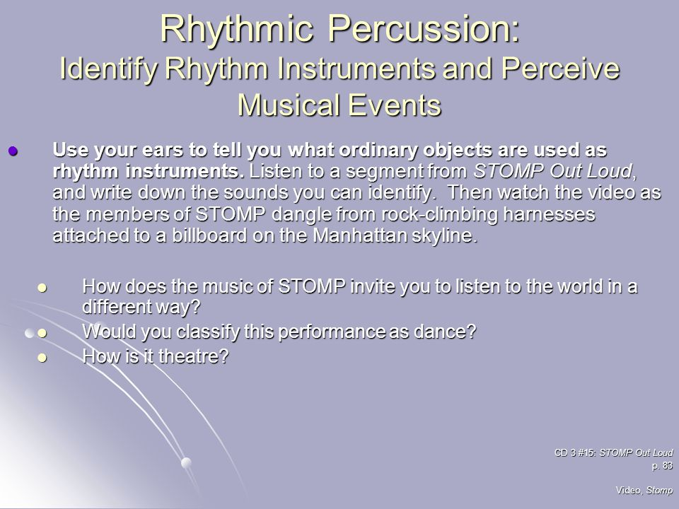 Rhythmic Percussion: Identify Rhythm Instruments and Perceive Musical Events