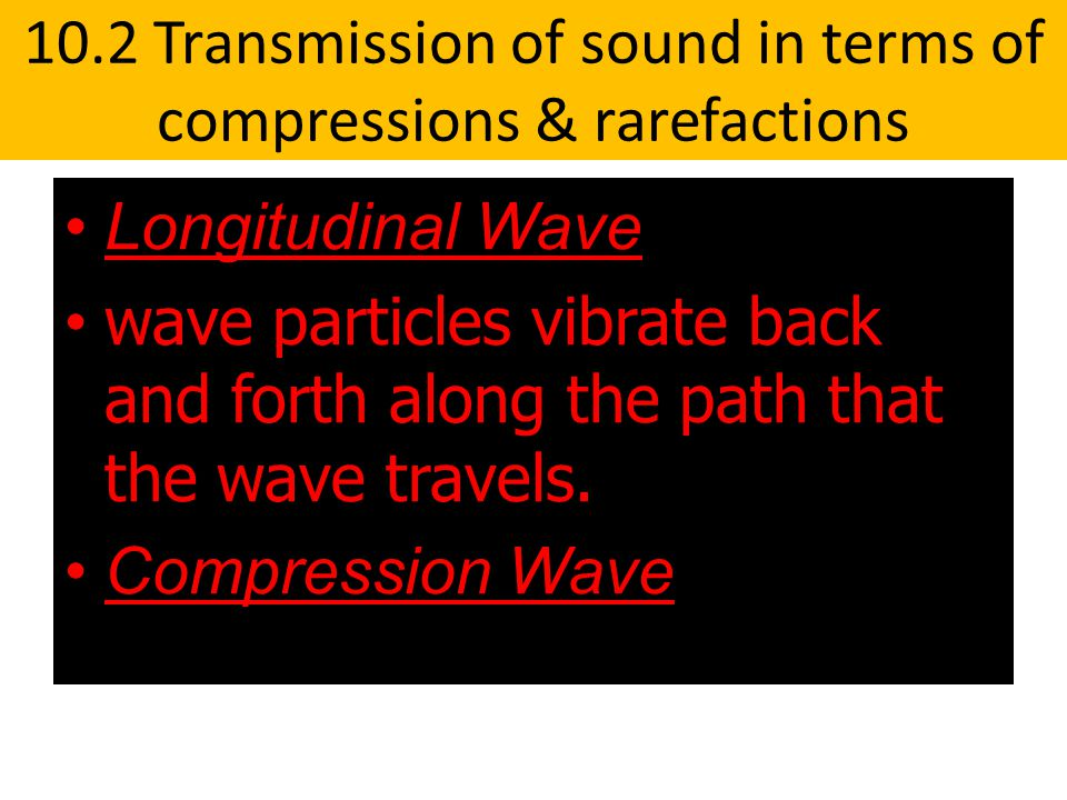10.2 Transmission of sound in terms of compressions & rarefactions