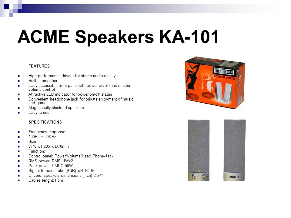 ACME Speakers KA-101 FEATURES