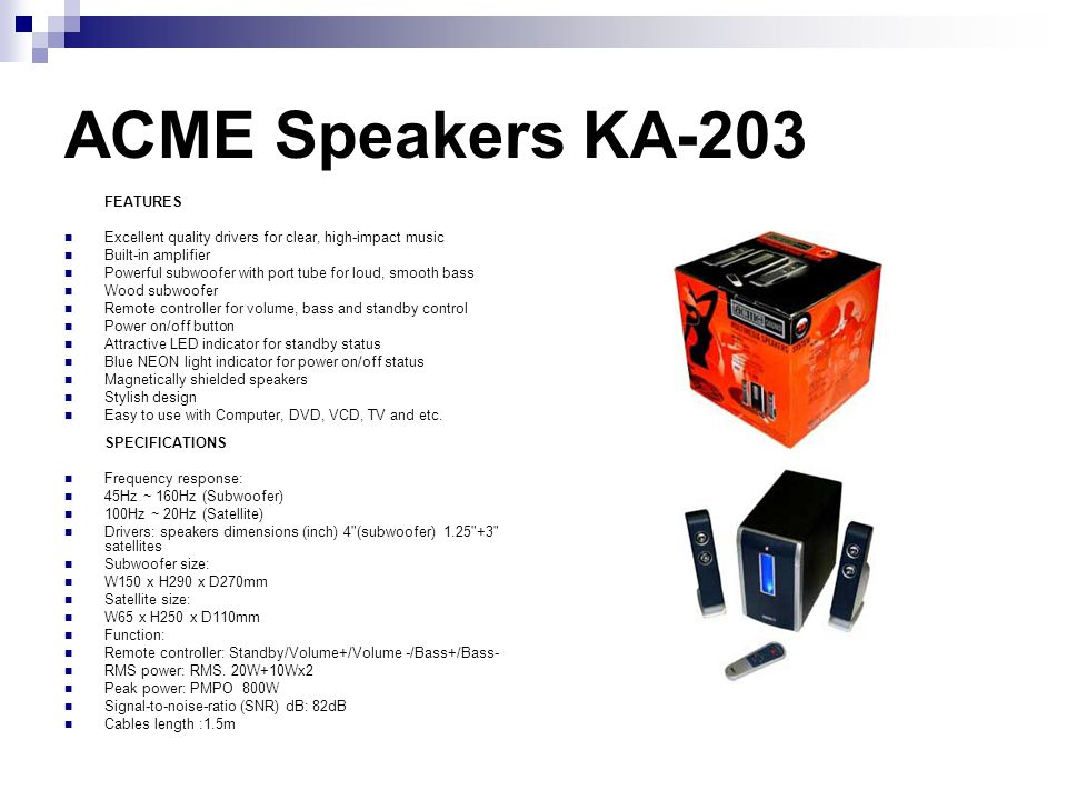 ACME Speakers KA-203 FEATURES