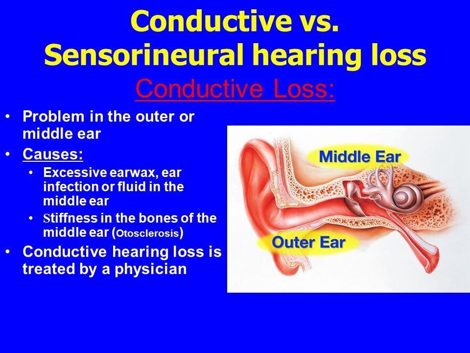 Conductive vs. Sensorineural hearing loss Conductive Loss:
