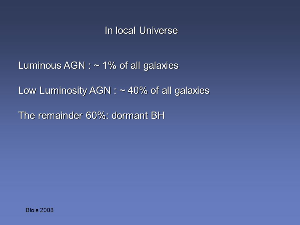 Luminous AGN : ~ 1% of all galaxies