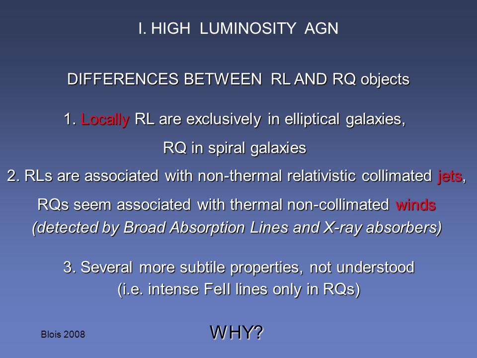 WHY I. HIGH LUMINOSITY AGN DIFFERENCES BETWEEN RL AND RQ objects