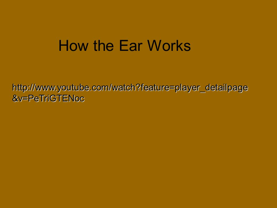How the Ear Works http://www.youtube.com/watch feature=player_detailpage&v=PeTriGTENoc