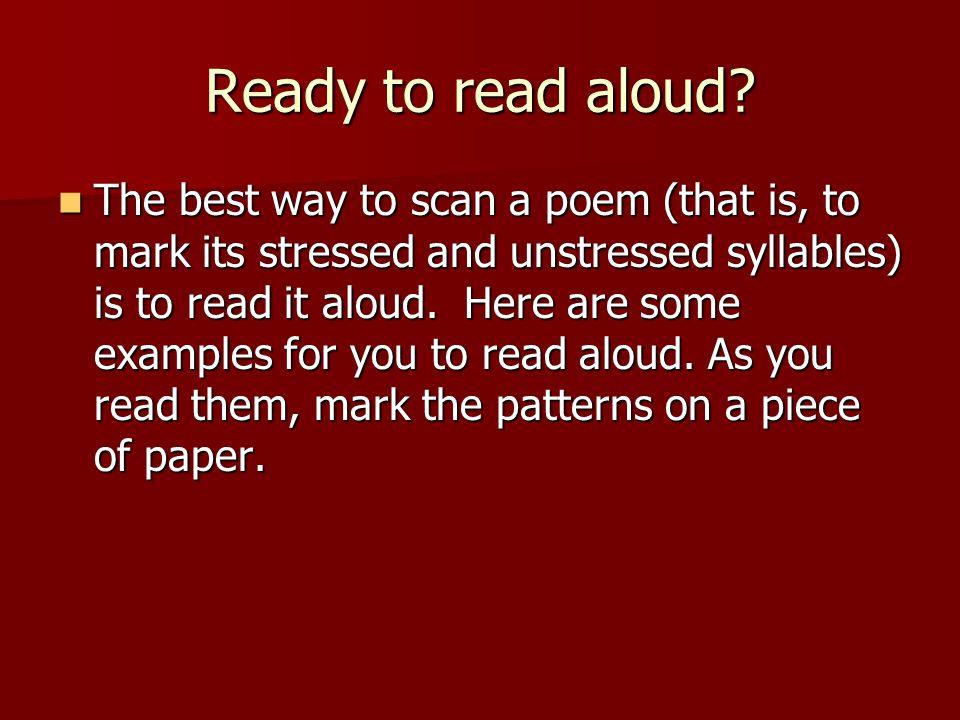 Ready to read aloud