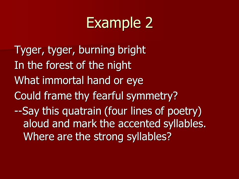 Example 2 Tyger, tyger, burning bright In the forest of the night