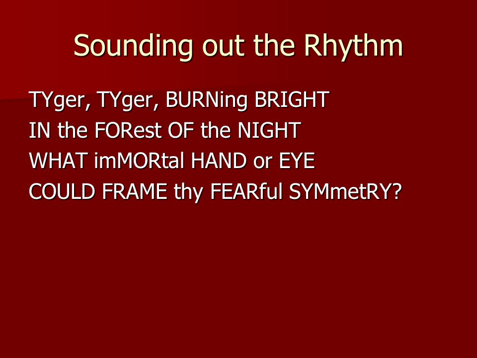 Sounding out the Rhythm