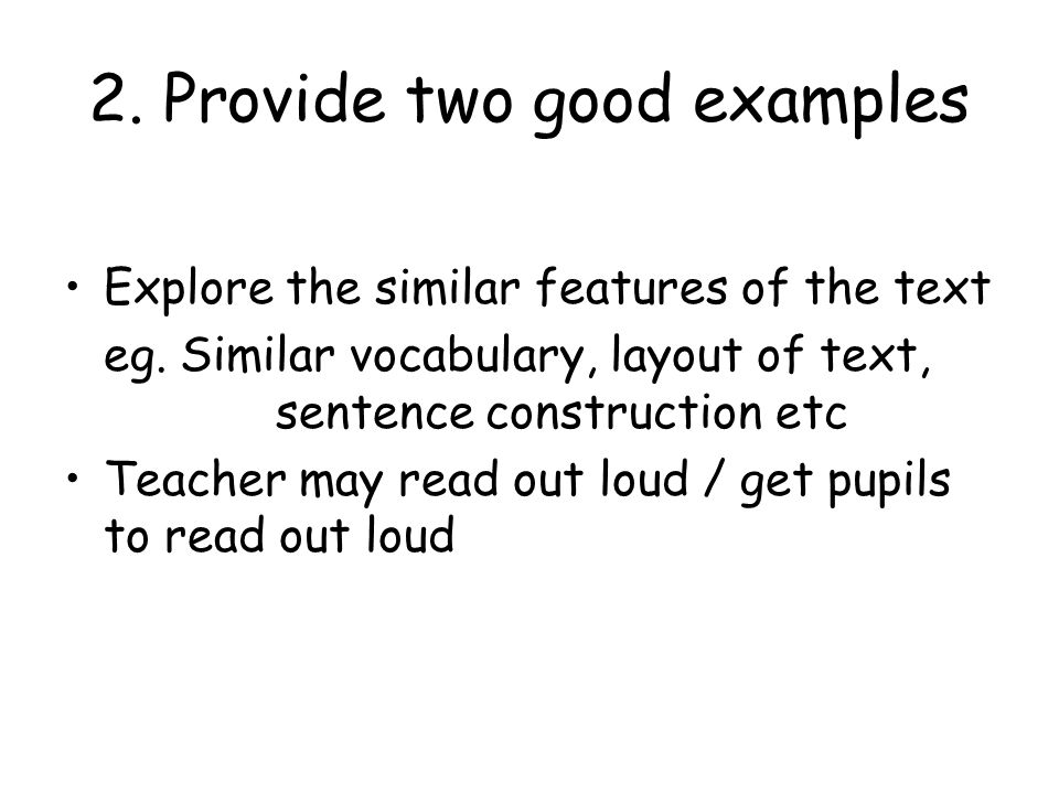 2. Provide two good examples