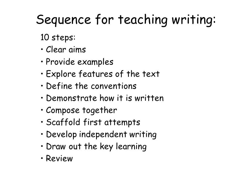 Sequence for teaching writing:
