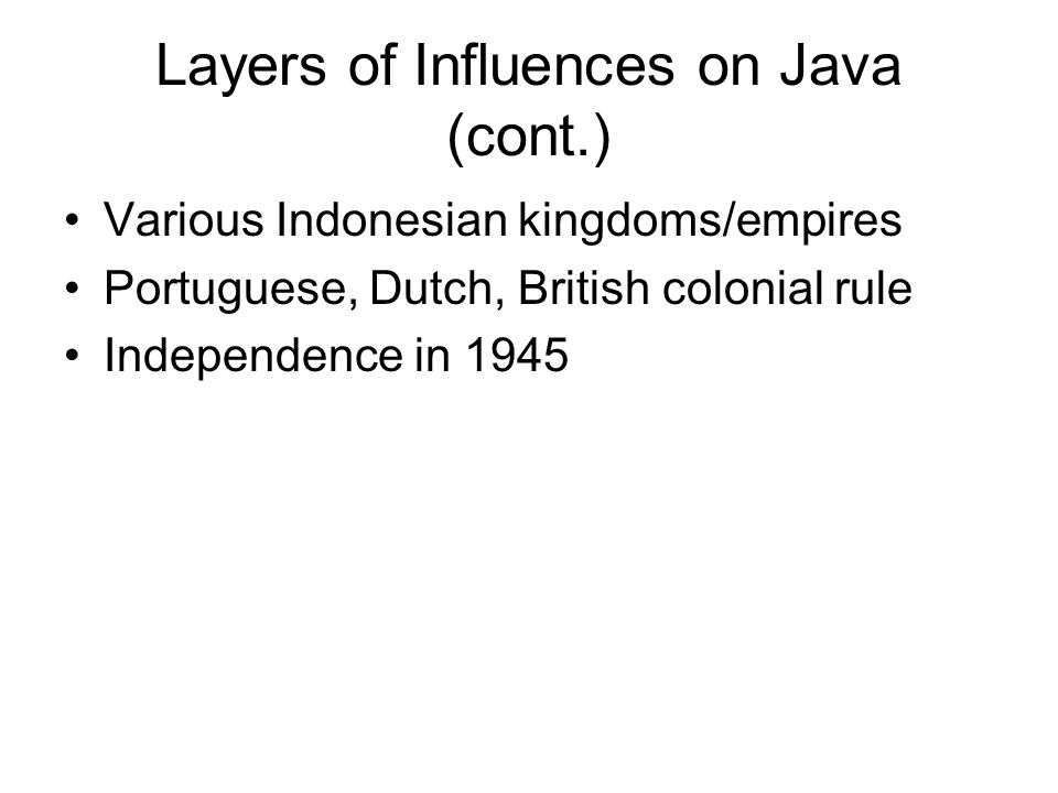 Layers of Influences on Java (cont.)