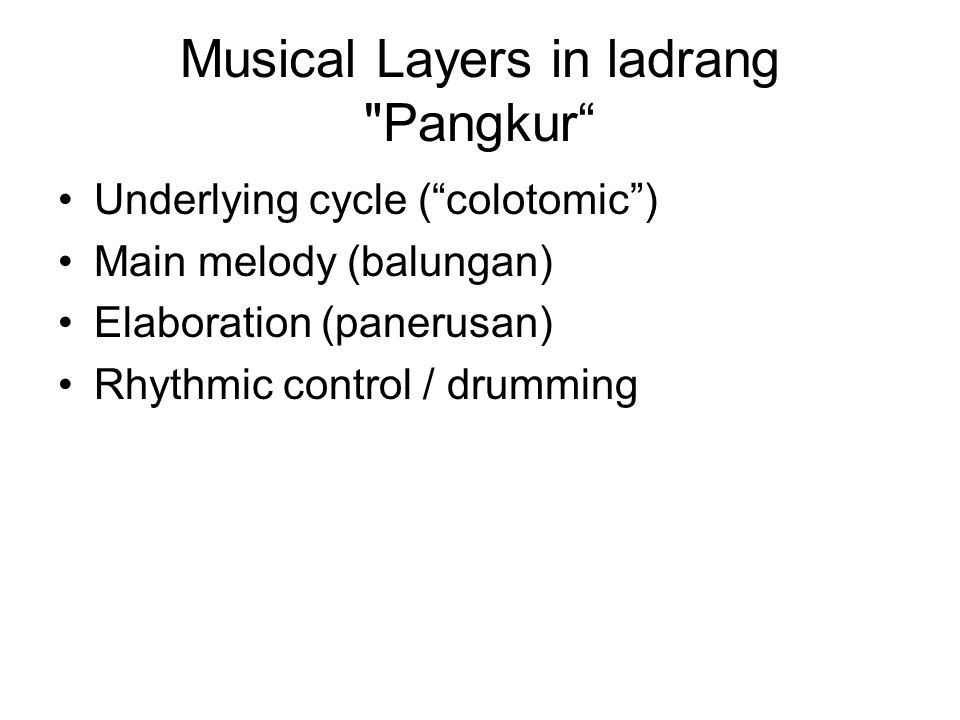 Musical Layers in ladrang Pangkur