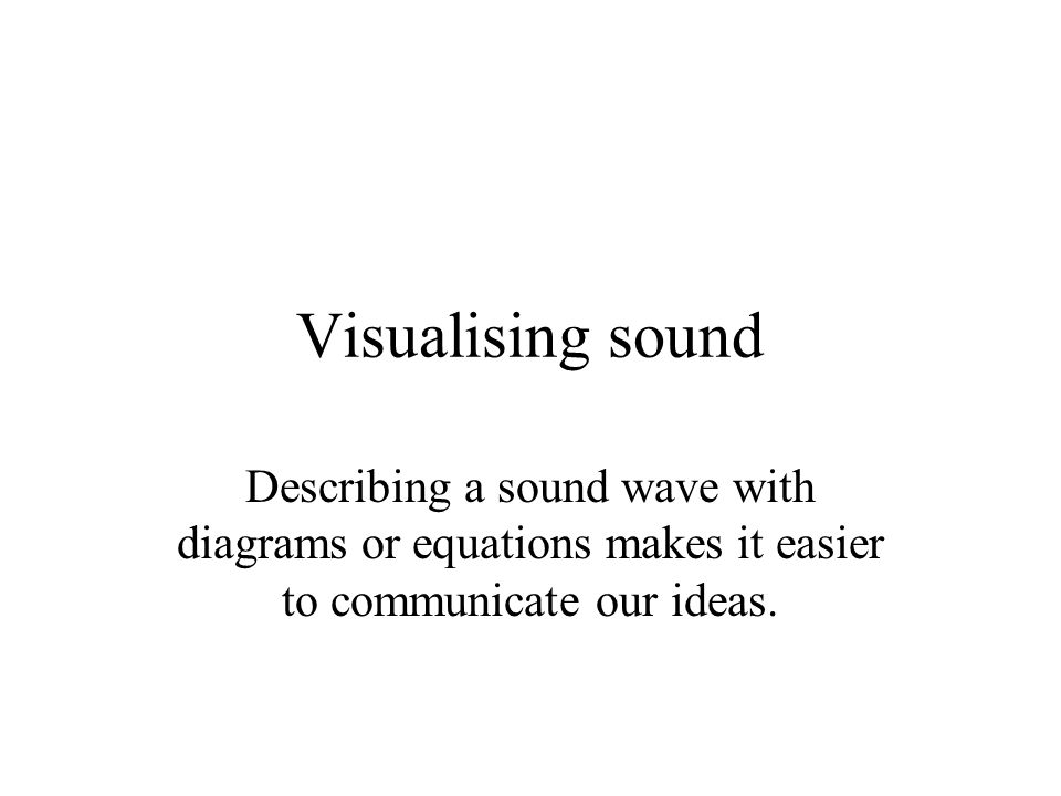 Visualising sound Describing a sound wave with diagrams or equations makes it easier to communicate our ideas.