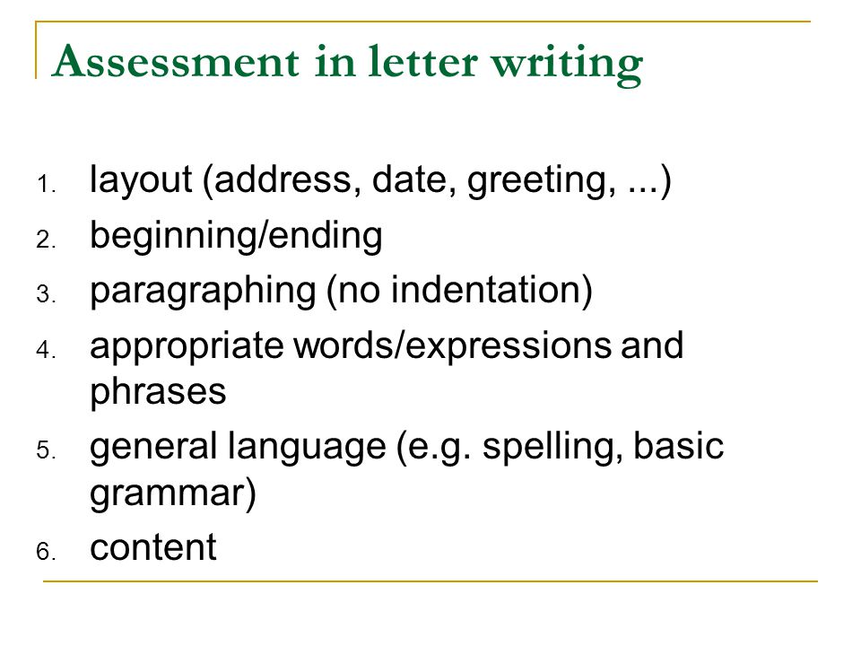 Assessment in letter writing